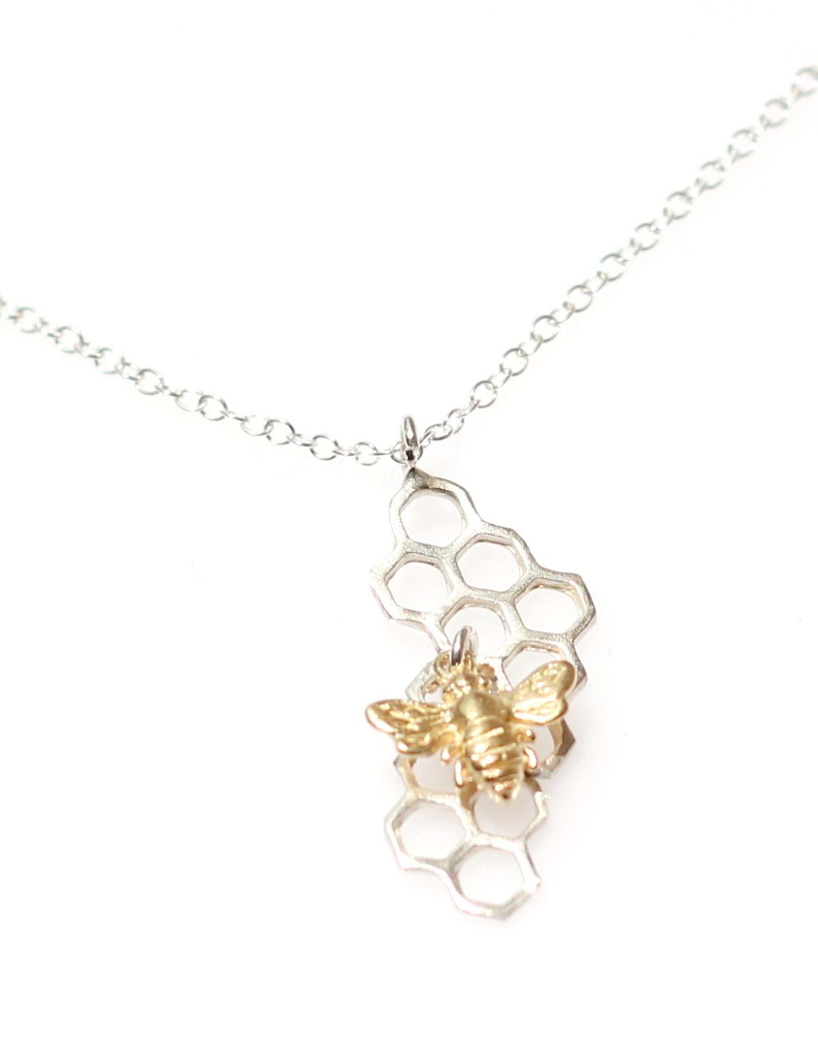 Sterling silver honeychoneycomb necklace with bee charm honeycomb sterling silver honeychoneycomb necklace with bee charm honeycomb charm honeycomb pendant with bee charm honeycomb charm save the bees aloadofball Choice Image